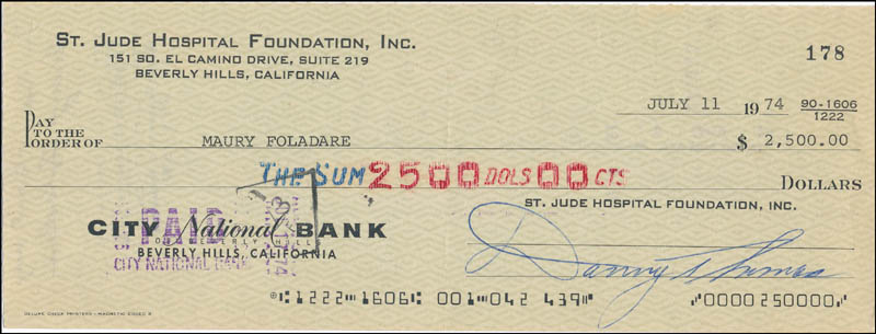 Image 1 for Danny Thomas - Autographed Signed Check 07/11/1974 co-signed by: Maury Foladare - HFSID 342502