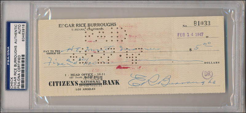 Image 1 for Edgar Rice Burroughs - Autographed Signed Check 02/14/1947 - HFSID 342511