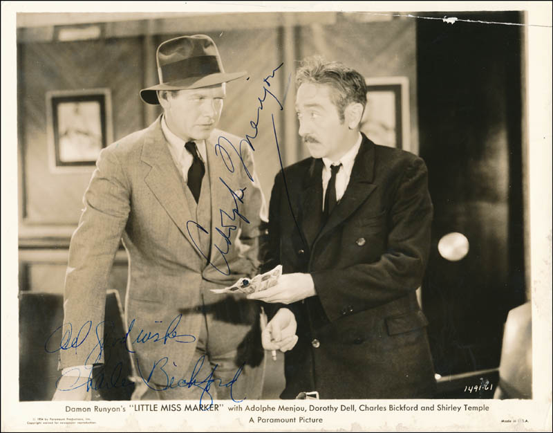 Image 1 for Little Miss Marker Movie Cast - Printed Photograph Signed In Ink co-signed by: Charles Bickford, Adolphe Menjou - HFSID 342528