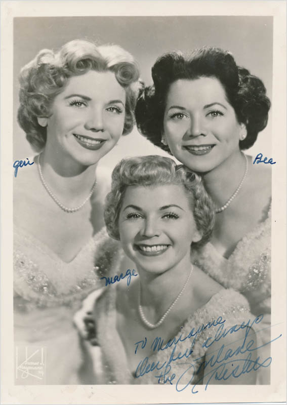 Image 1 for The Fontane Sisters - Autographed Inscribed Photograph with co-signers - HFSID 342720