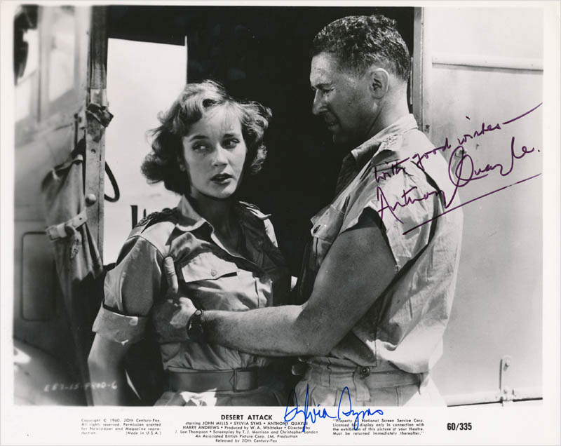 Image 1 for Desert Attack Moivie Cast - Printed Photograph Signed In Ink co-signed by: Sylvia Syms, Sir Anthony Quayle - HFSID 342808