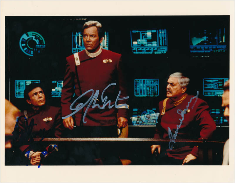 Image 1 for Star Trek TV Cast - Autographed Signed Photograph co-signed by: Walter Koenig, James Doohan, William Shatner - HFSID 342848