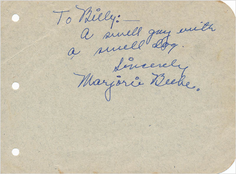 Image 1 for Marjorie Beebe - Autograph Note Signed - HFSID 342936