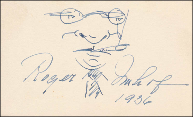 Image 1 for Roger Imhof - Self-caricature Signed 1936 - HFSID 343059