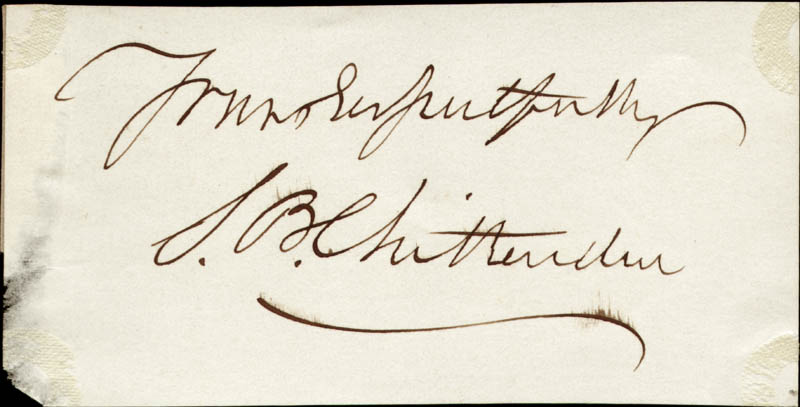 Image 1 for Simeon B. Chittenden - Autograph Sentiment Signed - HFSID 34312