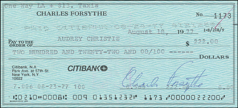 Image 3 for Charles Forsythe - Check Signed & Endorsed 08/18/1977 co-signed by: Audrey Christie - HFSID 343167