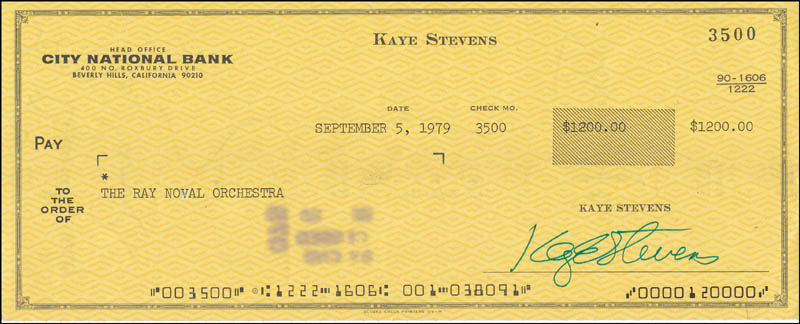 Image 1 for Kaye Stevens - Autographed Signed Check 09/05/1979 - HFSID 343234