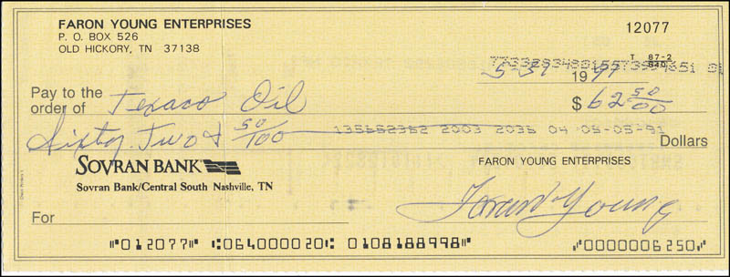 Image 1 for Faron 'The Sheriff' Young - Autographed Signed Check 05/31/1991 - HFSID 343240