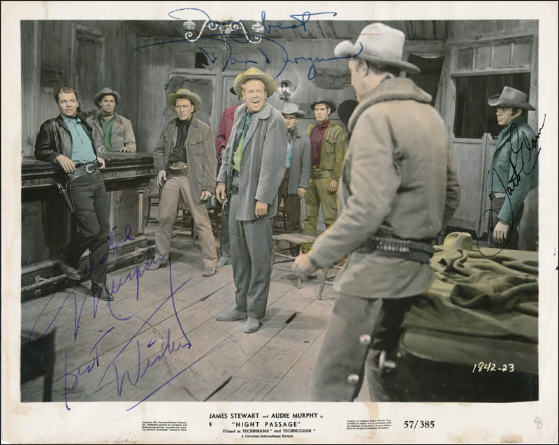 Image 1 for Night Passage Movie Cast - Printed Photograph Signed In Ink co-signed by: Audie Murphy, Jack Elam, Dan Duryea - HFSID 343252