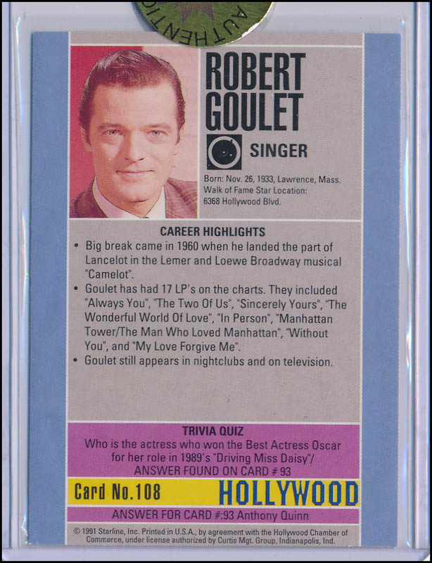 Image 3 for Robert Goulet - Trading/Sports Card Signed - HFSID 343308