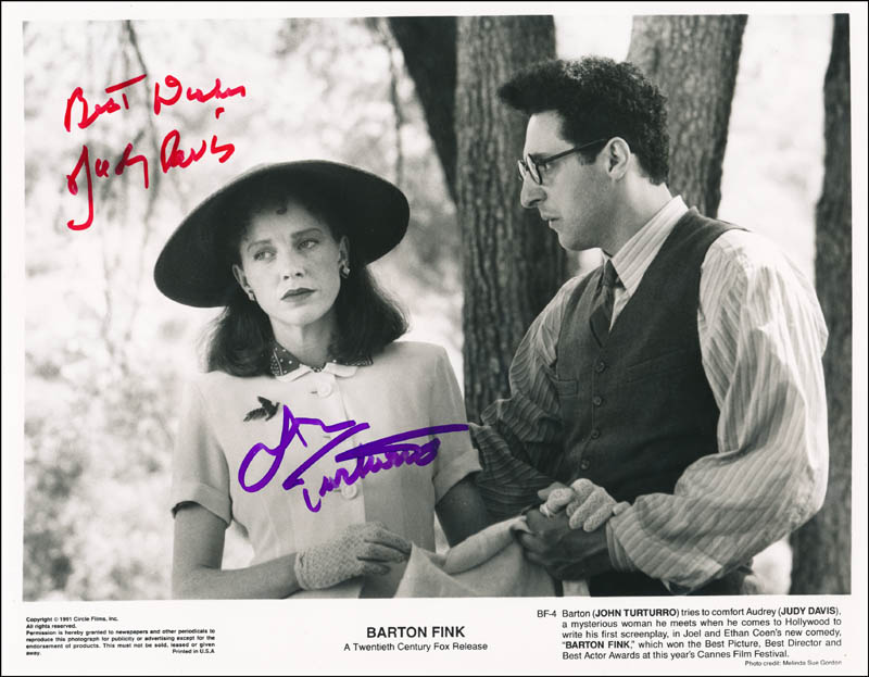 Image 1 for Barton Fink Movie Cast - Printed Photograph Signed In Ink co-signed by: John Turturro, Judy Davis - HFSID 343358
