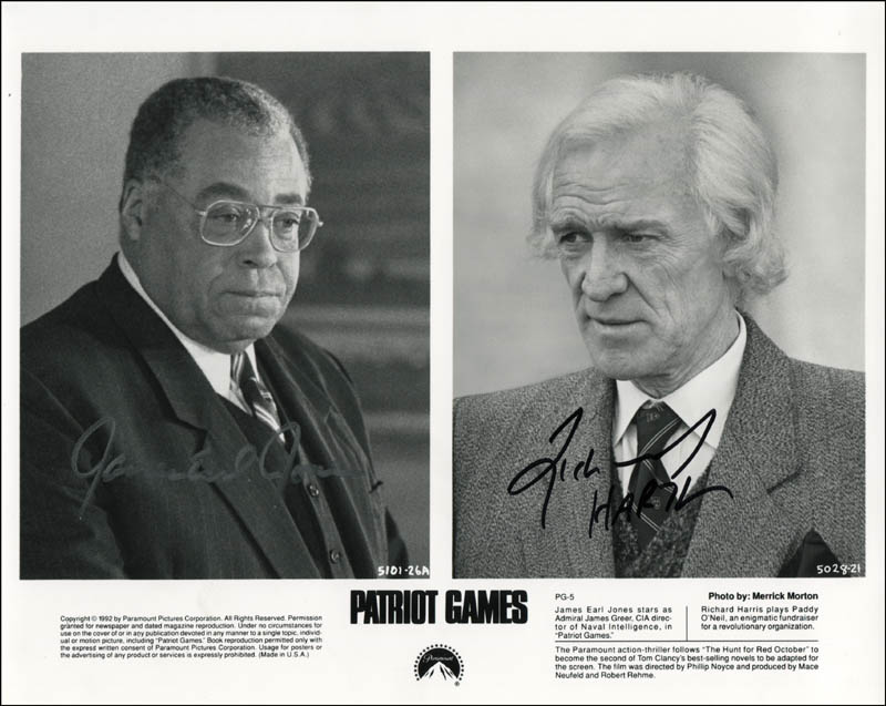 Image 1 for Patriot Games Movie Cast - Printed Photograph Signed In Ink co-signed by: Richard Harris, James Earl Jones - HFSID 343362