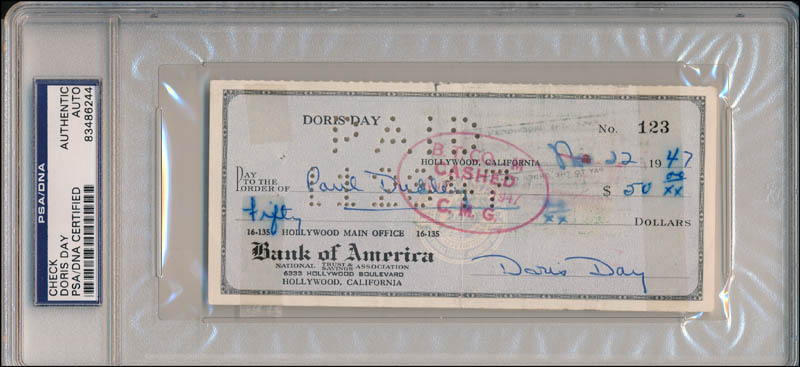 Image 1 for Doris Day - Autographed Signed Check 11/22/1947 - HFSID 343436