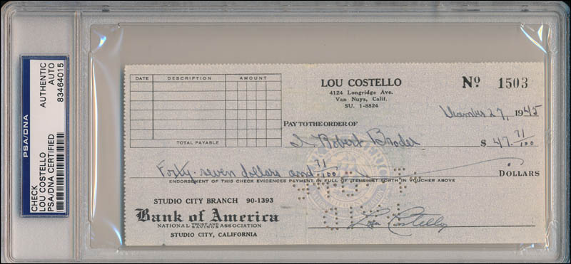 Image 1 for Abbott & Costello (Lou Costello) - Autographed Signed Check 12/27/1945 - HFSID 343438