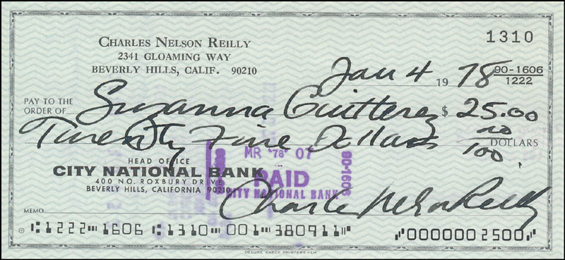 Image 1 for Charles Nelson Reilly - Autographed Signed Check 01/04/1978 - HFSID 343452