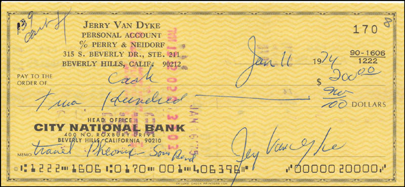 Image 1 for Jerry Van Dyke - Autographed Signed Check 01/11/1974 - HFSID 343461