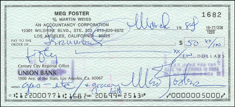 Image 1 for Meg Foster - Autographed Signed Check 03/1984 - HFSID 343482