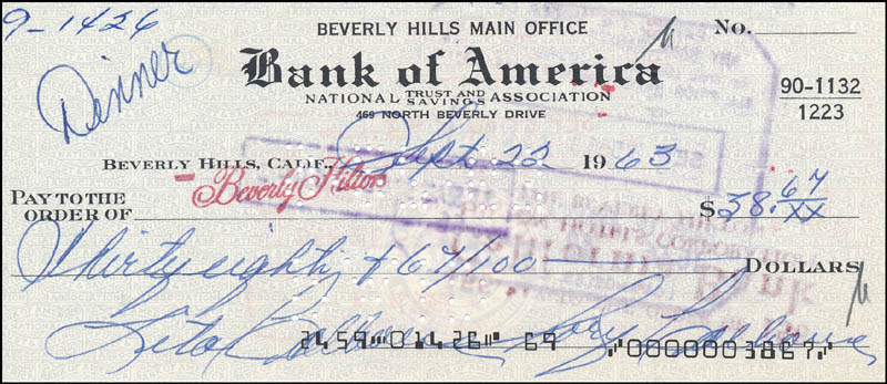 Image 1 for Rory Calhoun - Autographed Signed Check 09/22/1963 - HFSID 343492