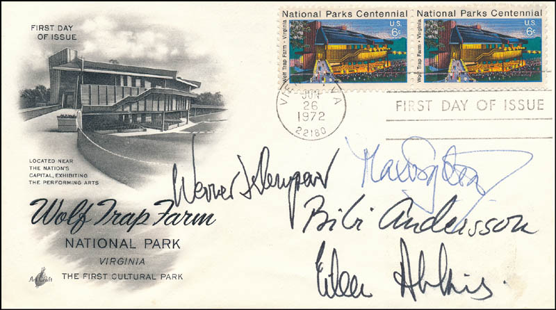 Image 1 for Max Von Sydow - First Day Cover Signed co-signed by: Werner Klemperer, Bibi Andersson, Dame Eileen Atkins - HFSID 343579