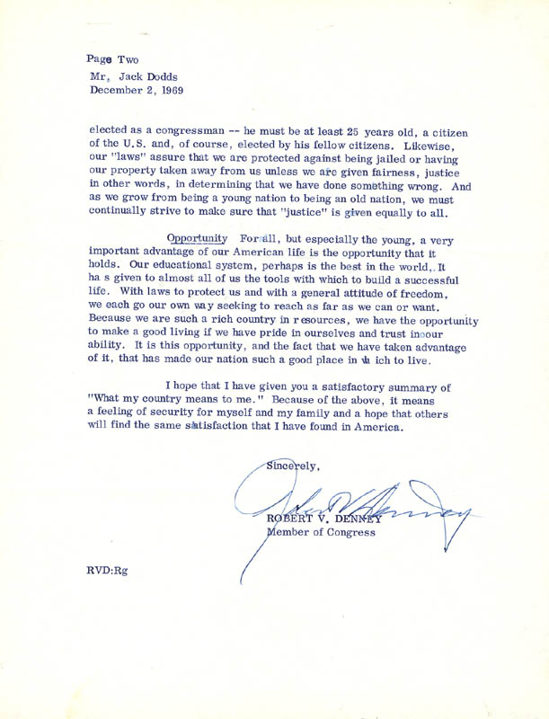 Image 1 for Robert V. Denney - Typed Letter Signed 12/02/1969 - HFSID 34362
