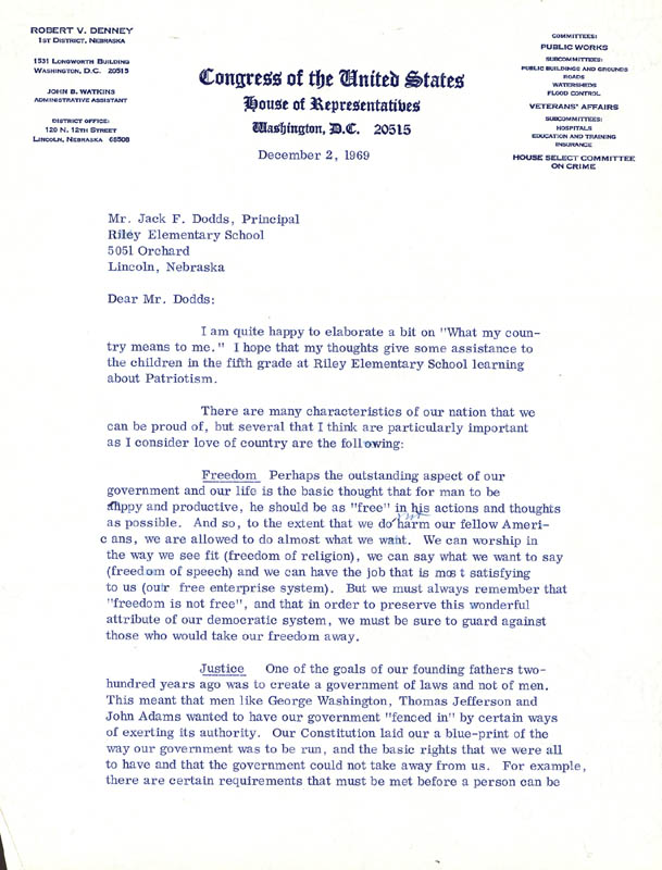 Image 3 for Robert V. Denney - Typed Letter Signed 12/02/1969 - HFSID 34362