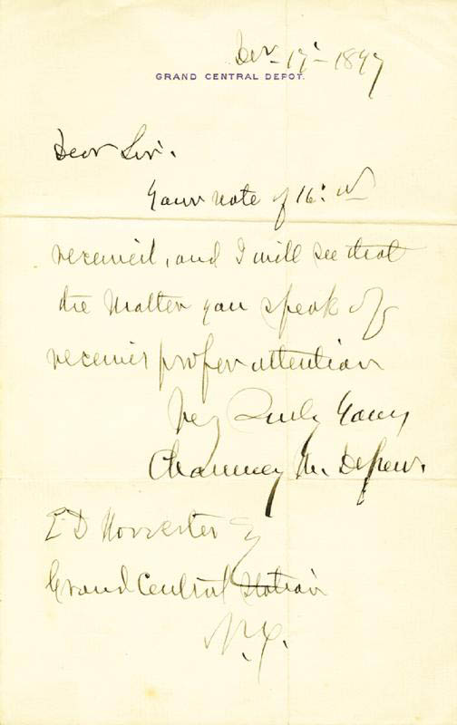Image 1 for Chauncey M. Depew - Autograph Letter Signed 12/17/1897 - HFSID 34367