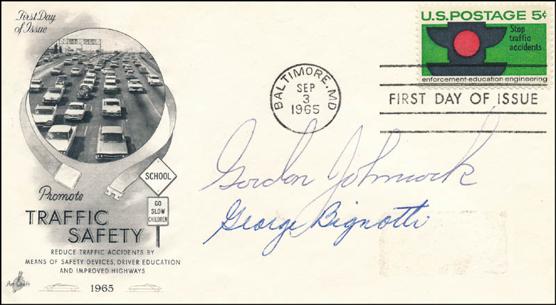 Image 1 for Gordon Johncock - First Day Cover Signed co-signed by: George Bignotti - HFSID 343673