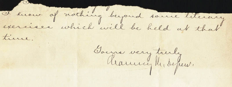 Image 1 for Chauncey M. Depew - Autograph Fragment Signed - HFSID 34368