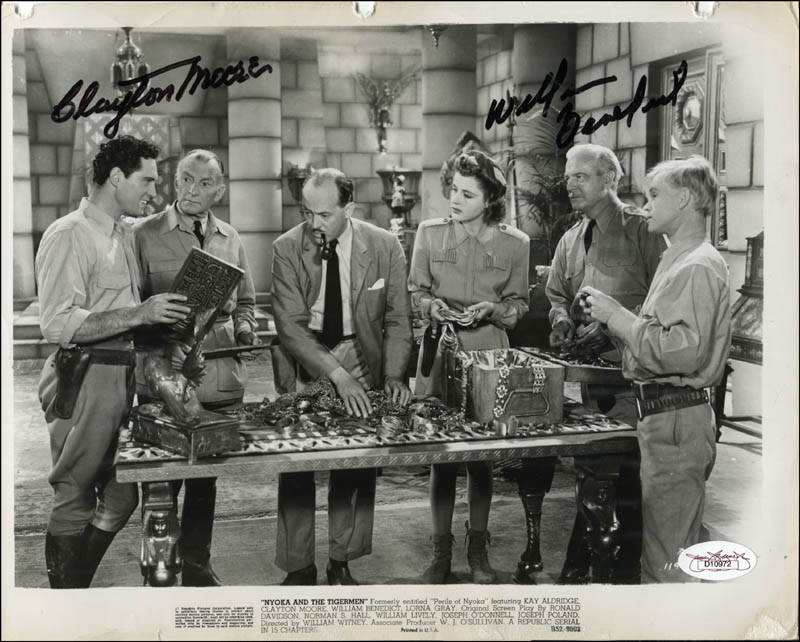 Image 1 for Perils Of Nyoka Movie Cast - Printed Photograph Signed In Ink co-signed by: Clayton 'The Lone Ranger' Moore, William 'Billy' Benedict - HFSID 343755