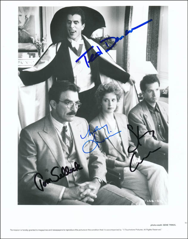 Image 1 for Three Men And A Baby Movie Cast - Autographed Signed Photograph co-signed by: Ted Danson, Steve Guttenberg, Tom Selleck, Nancy Travis - HFSID 343758