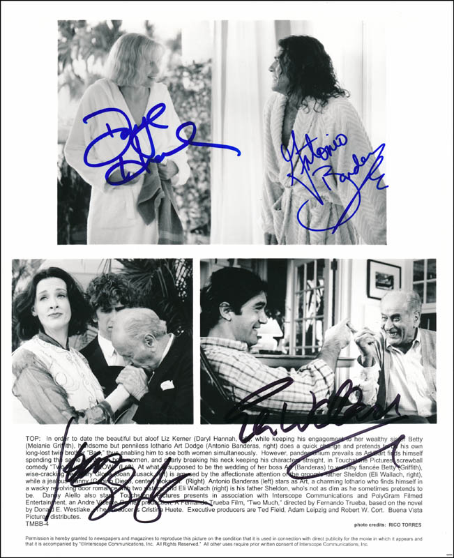 Image 1 for Two Much Movie Cast - Printed Photograph Signed In Ink co-signed by: Daryl Hannah, Eli Wallach, Joan Cusack, Antonio Banderas - HFSID 343759