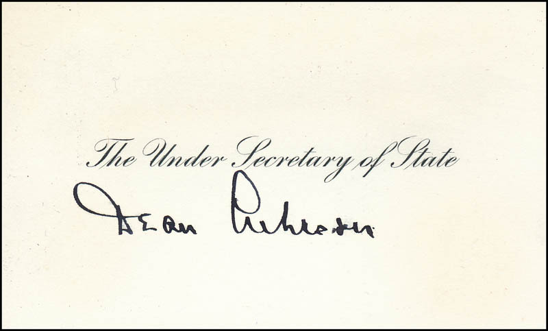 Image 1 for Dean Acheson - Calling Card Signed - HFSID 343891