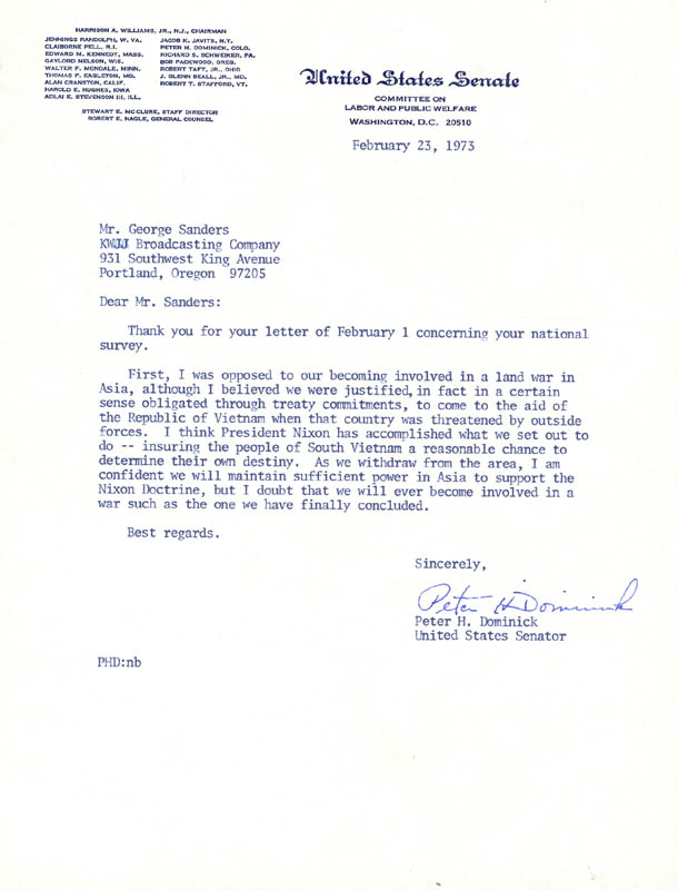 Image 1 for Peter Dominick - Typed Letter Signed 02/23/1973 - HFSID 34393