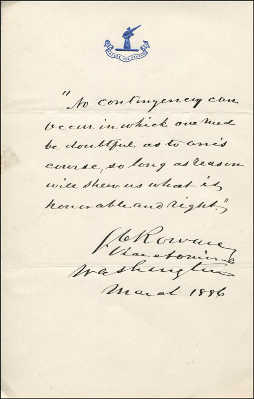Image 1 for Vice Admiral Stephen C. Rowan - Autograph Quotation Signed 03/1886 - HFSID 343969