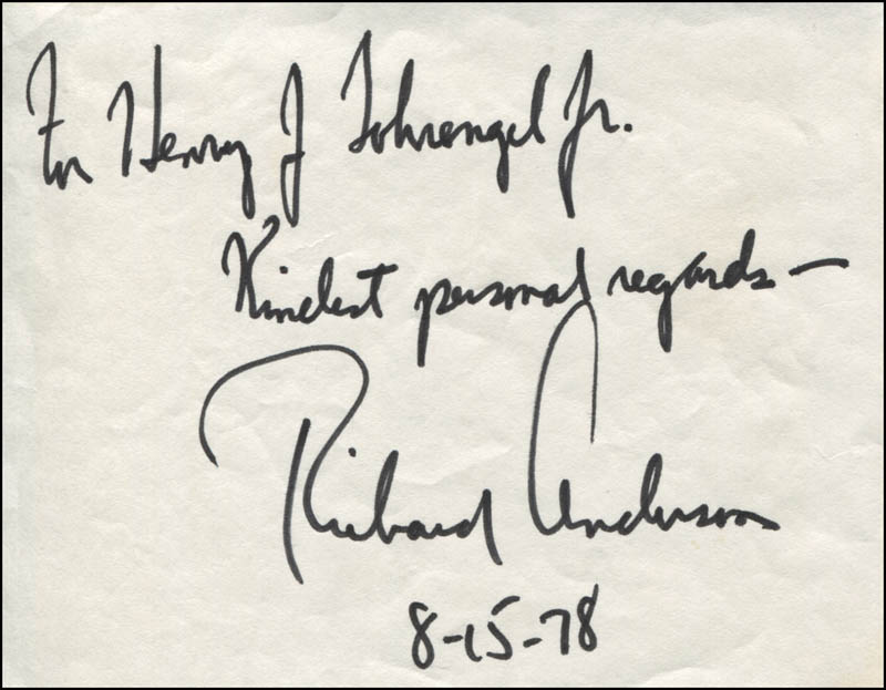 Image 1 for Richard Anderson - Autograph Note Signed 08/15/1978 - HFSID 344034