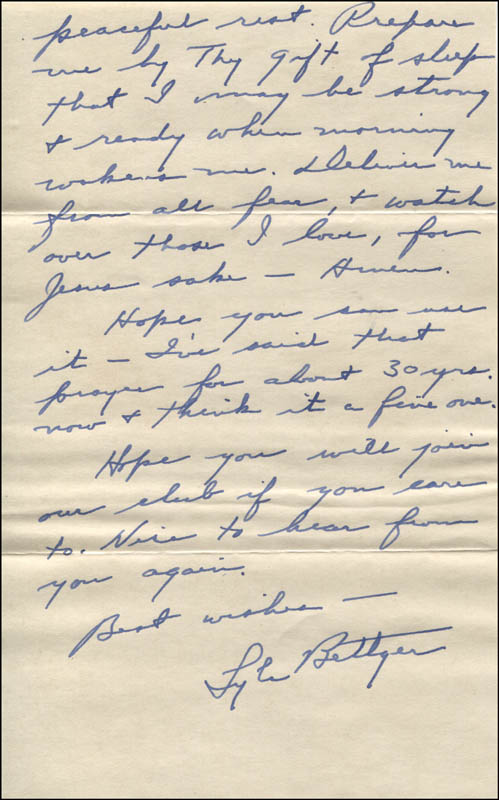 Image 1 for Lyle Bettger - Autograph Letter Signed 01/25/1956 - HFSID 344095