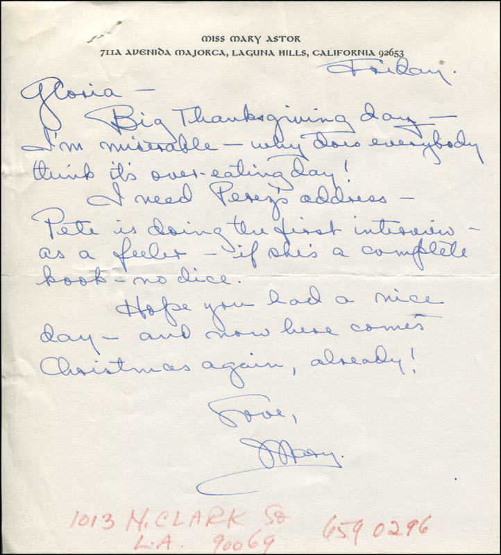 Image 1 for Mary Astor - Autograph Letter Signed 11/24/1967 - HFSID 344192