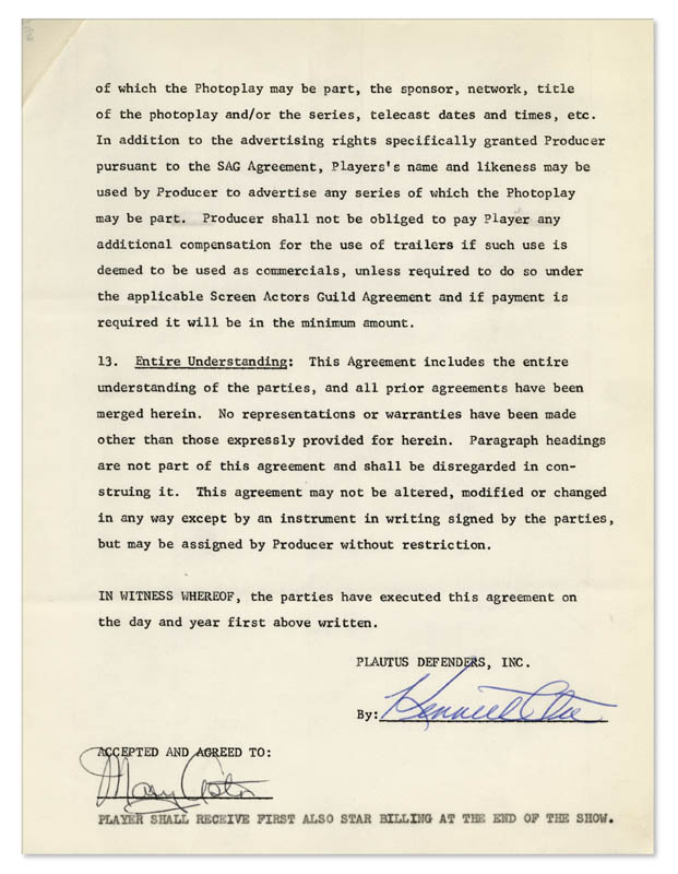 Image 7 for Mary Astor - Contract Signed 10/09/1962 - HFSID 344193
