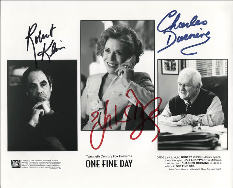 Image 1 for One Fine Day Movie Cast - Printed Photograph Signed In Ink co-signed by: Robert Klein, Charles Durning, Holland Taylor - HFSID 344310