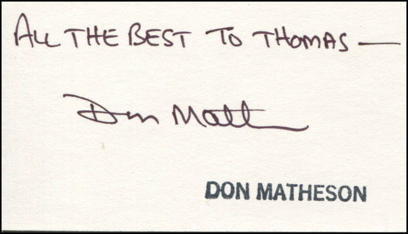 Image 1 for Don Matheson - Autograph Note Signed - HFSID 344505