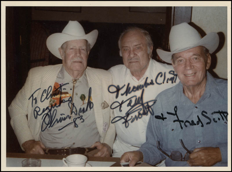 Image 1 for Oliver Drake - Autographed Inscribed Photograph 1983 co-signed by: Fred L. 'The Singing Buckaroo' Scott, Terry Frost - HFSID 344614