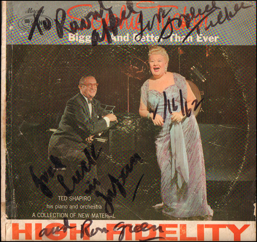 Image 1 for Sophie Tucker - Inscribed Record Album Cover Signed 01/16/1962 - HFSID 344666