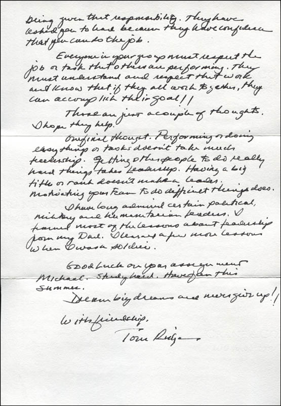 Image 1 for Tom (Thomas Joseph) Ridge - Autograph Letter Signed 06/09/2014 - HFSID 344799