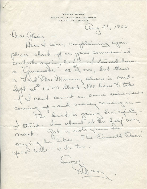 Image 1 for Mary Astor - Autograph Letter Signed 08/21/1964 - HFSID 344855