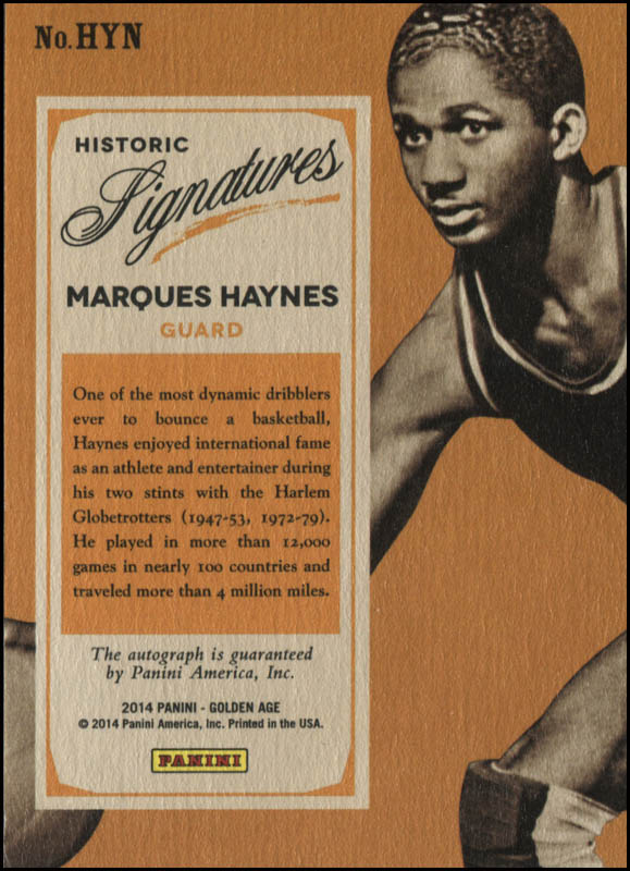 Image 3 for Marques Haynes - Trading/Sports Card Signed - HFSID 345048