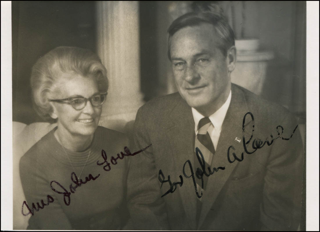 Image 1 for Governor John A. Love - Autographed Signed Photograph co-signed by: Ann Daniels Love - HFSID 345123