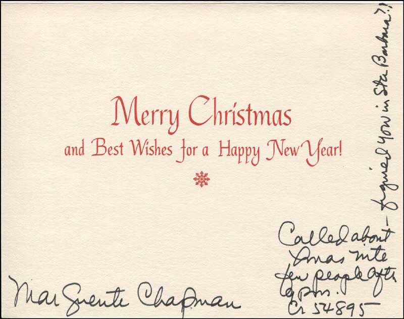 Image 1 for Marguerite Chapman - Christmas / Holiday Card Signed - HFSID 345191