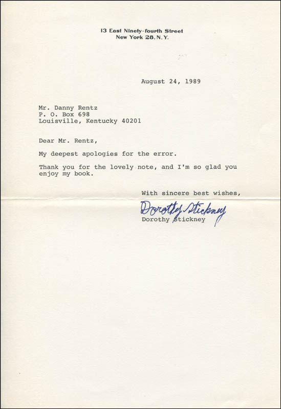 Image 1 for Dorothy Stickney - Typed Letter Signed 08/24/1989 - HFSID 345206