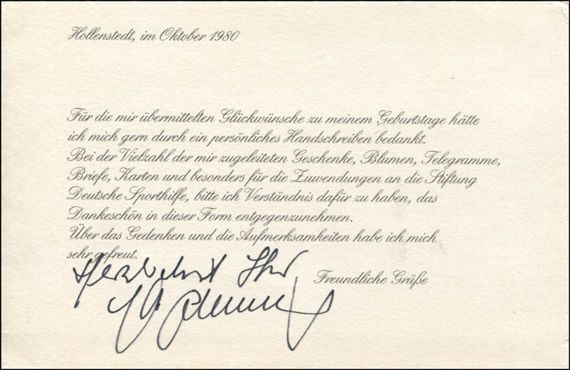 Image 1 for Max Schmeling - Printed Letter Signed In Ink 10/1980 - HFSID 345208