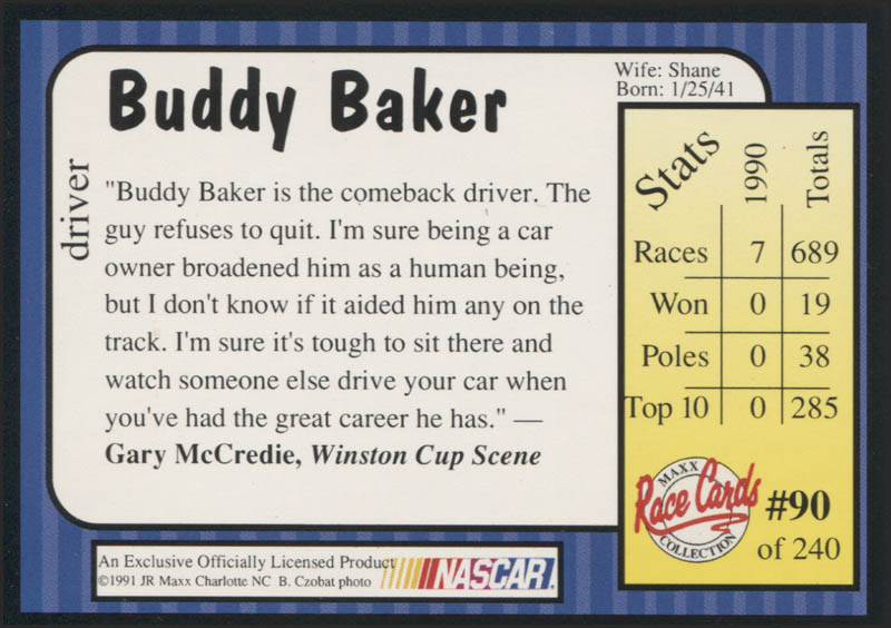Image 3 for Buddy Baker - Trading/Sports Card Signed - HFSID 345447
